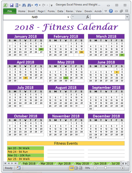 Excel Exercise Planner Spreadsheet Year 2018