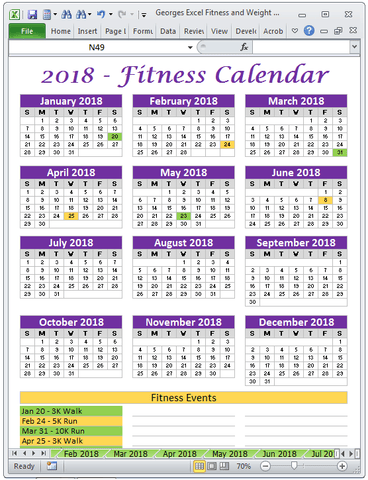 Excel Fitness Tracker and Weight Tracker for Year 2018