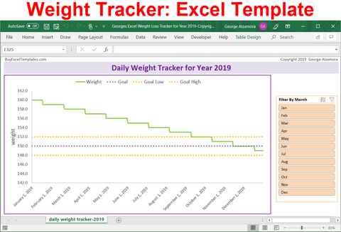 Excel Daily Weight Loss Tracker for Year 2019