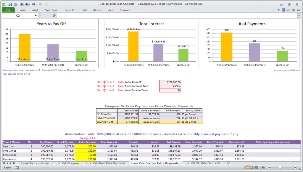 Details About Mortgage Loan Calculator Amortization Table Extra Payments Excel Spreadsheet