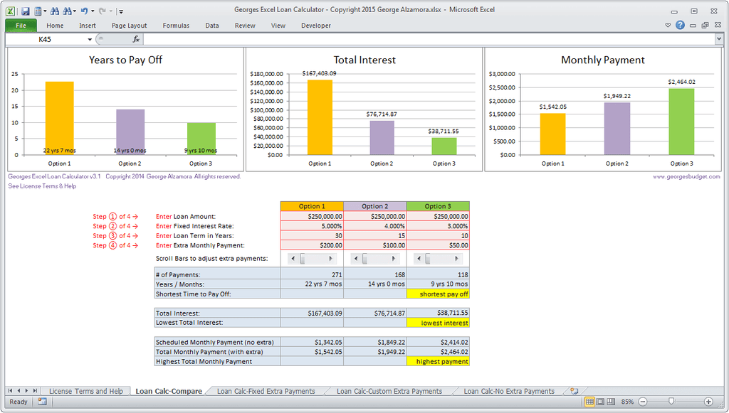 Beautiful Excel Mortgage Comparison Tool