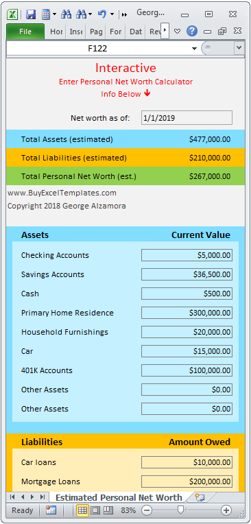 Personal Net Worth Calculator Excel Spreadsheet Buyexceltemplates