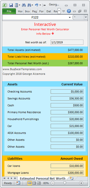 Excel net worth calculator spreadsheet template