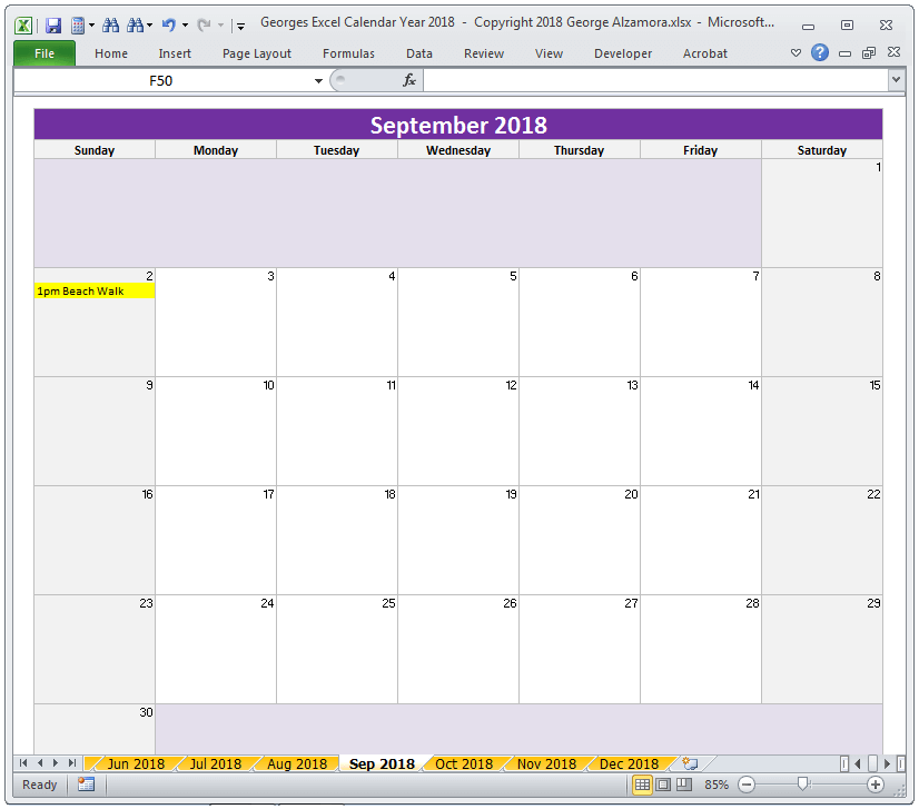 how to create a 2018 calendar in excel