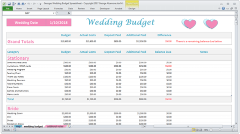 Georges Wedding Budget Spreadsheet v2.0