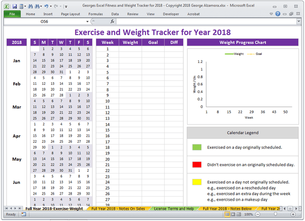 Excel Weight Tracker Fitness Planner Spreadsheet Year 2018