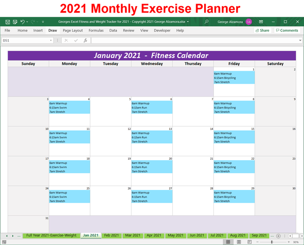 excel year 2021 workout planner