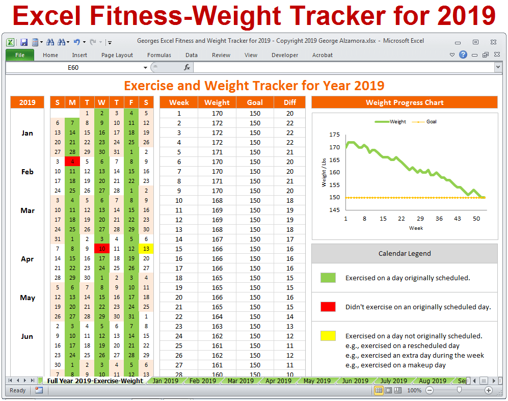 picture regarding Printable Weight Loss Calendars known as Excel Exercise Tracker - Body weight Tracker for 12 months 2019