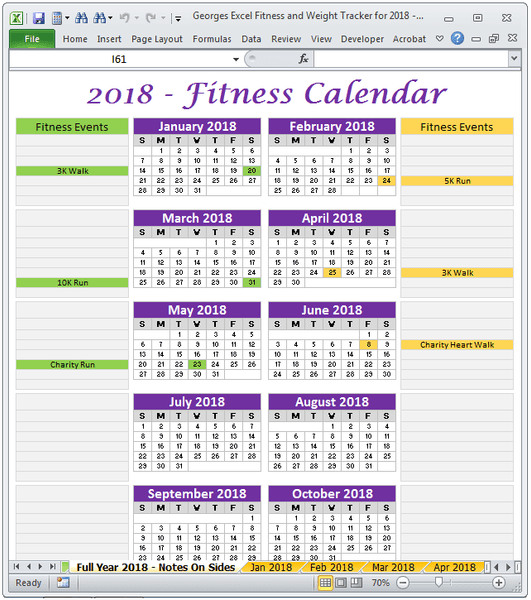 Fitness Calendar Activites Log Spreadsheet