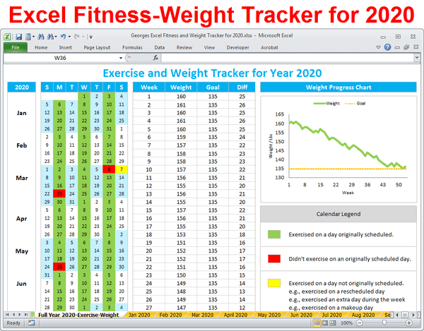 Workout and Weight Loss Tracker for year 2020 - Excel Spreadsheet Printable