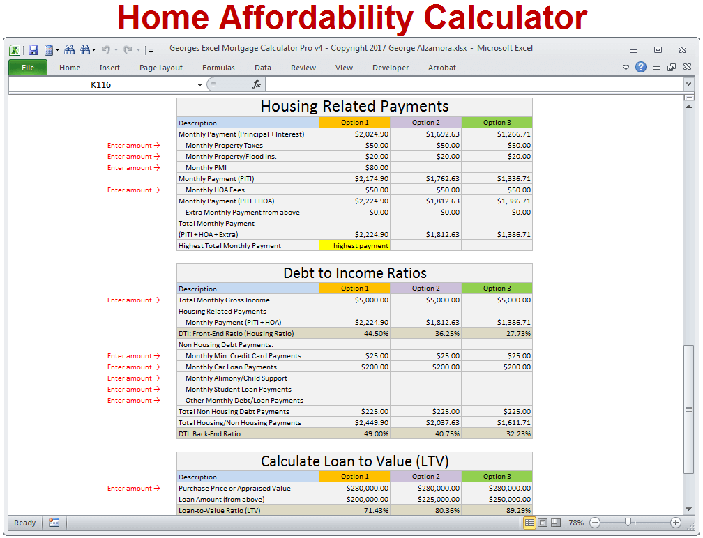 Mortgage Calculator with Taxes Insurance PMI HOA & Extra Payments ...