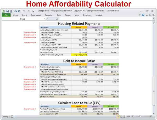 mortgage calculator with taxes insurance pmi hoa  u0026 extra payments  u2013 buyexceltemplates com