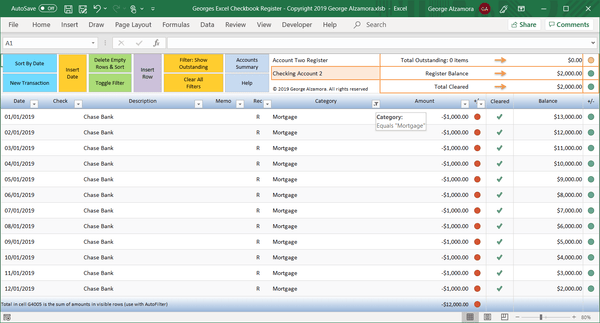 how to reconcile bank account using excel
