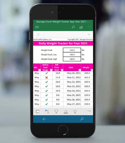 iPhone weight loss tracker app 2021 Excel template