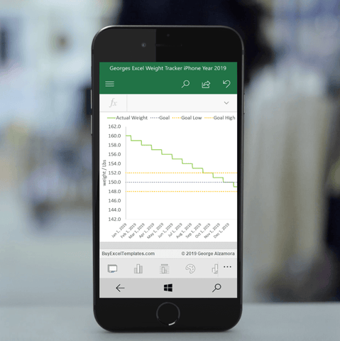 Excel Weight Tracker App for iPhone iOS for Year 2019