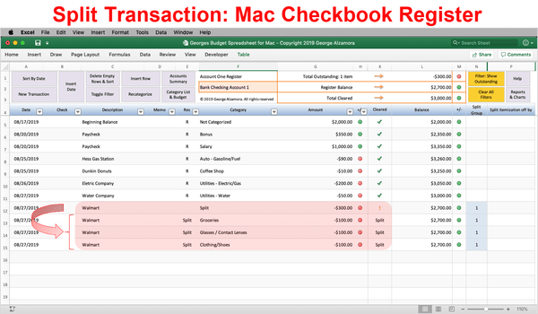 Mac Checkbook Register Split Transactions - Excel Templates