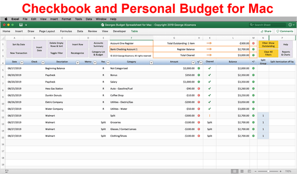 Mac Checkbook Software with Budget Spreadsheet