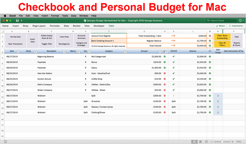 Georges Budget Spreadsheet for Mac v12.0