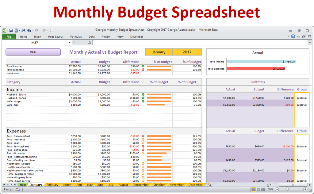 monthly budget spreadsheet for excel buyexceltemplates com