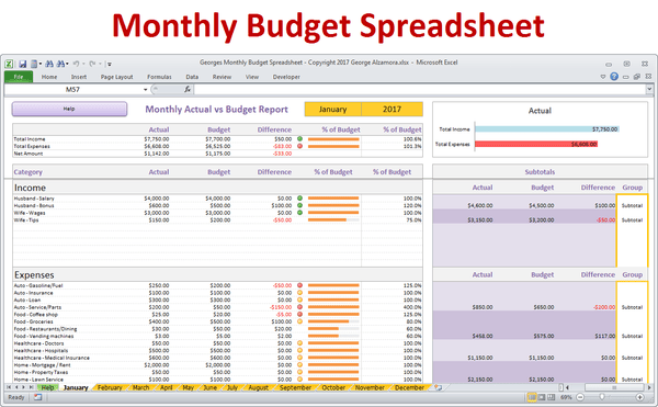 monthly budget spreadsheet for excel  u2013 buyexceltemplates com