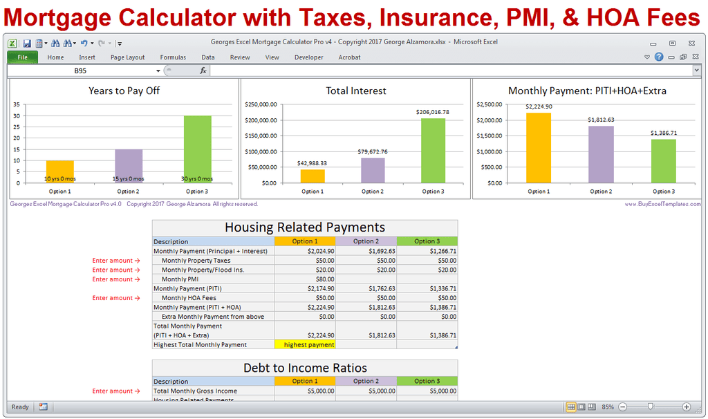 mortgage calculator with taxes insurance pmi hoa  u0026 extra