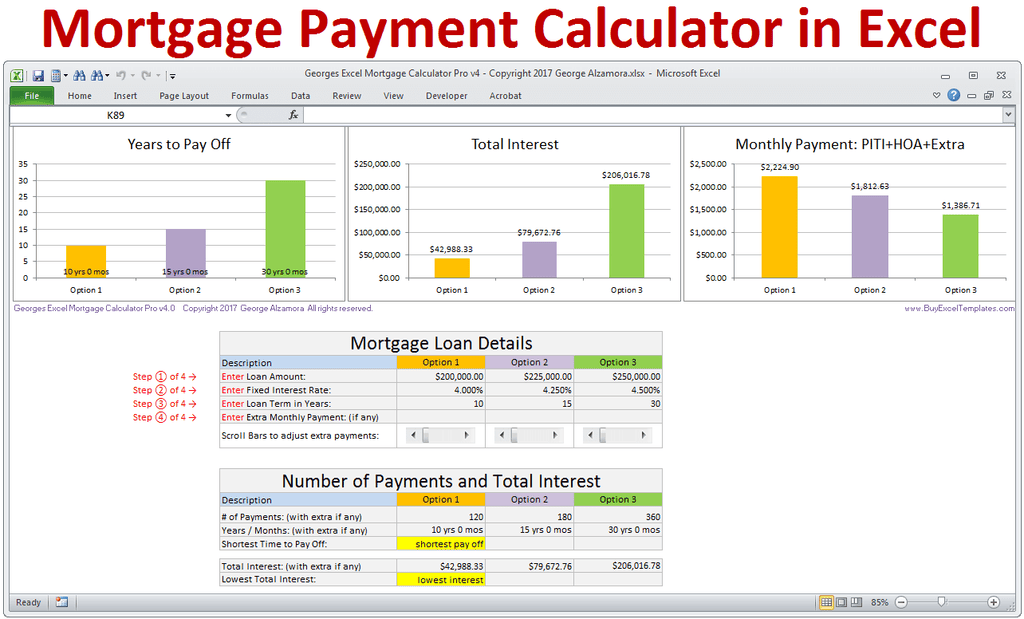mortgage calculator with extra payments excel
