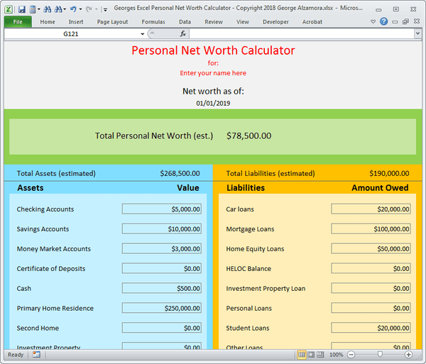 Personal balance sheet assets liabilities net worth worksheet