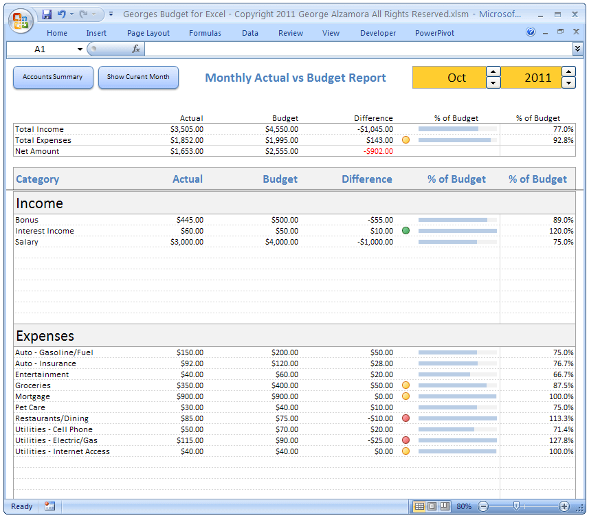 Excel Budget Spreadsheet And Checkbook Register Software - Personal financial records template