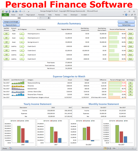 Personal Finance Software - Excel Spreadsheet