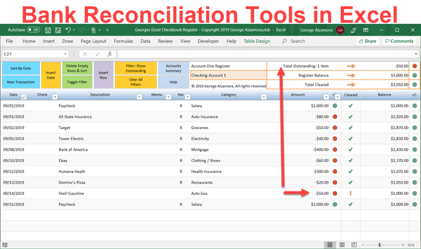 How to reconcile bank account in Excel: Easy