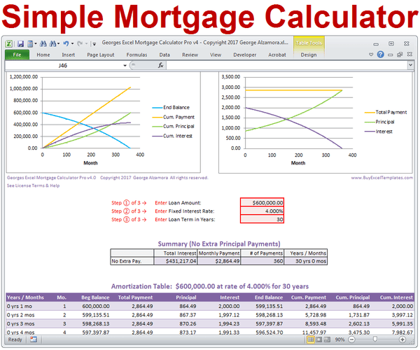 simple mortgage calculator excel templates_grande