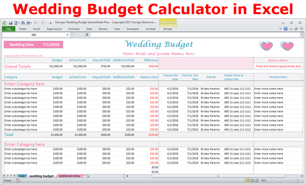 Wedding Costs Calculator Excel Wedding Expenses Worksheet