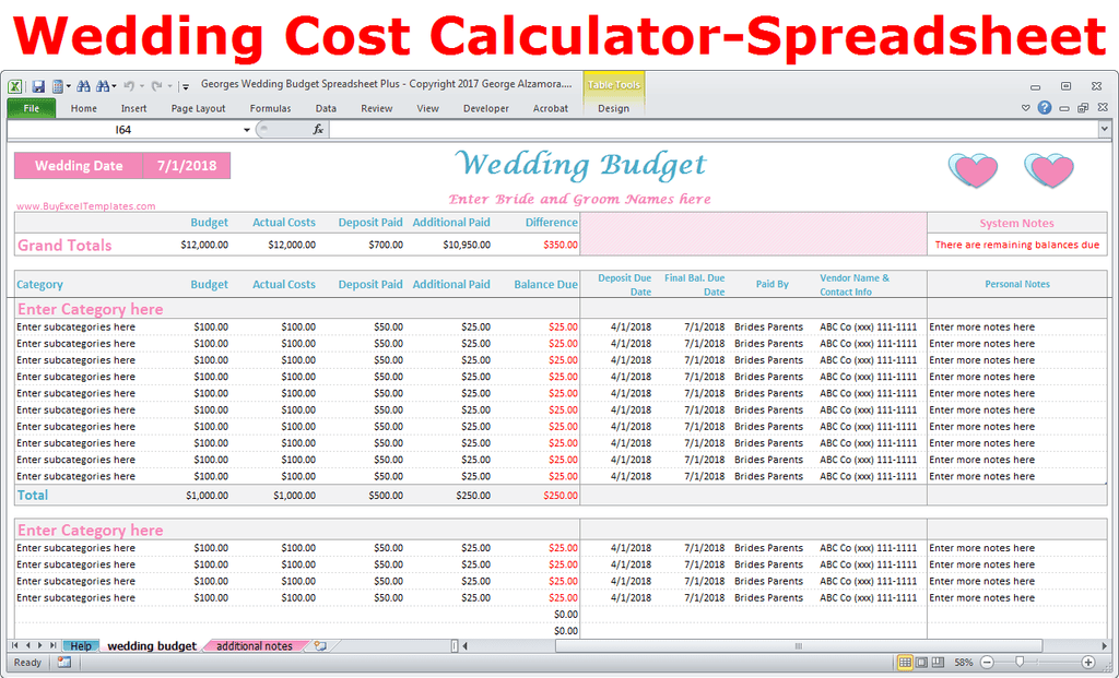image regarding Printable Wedding Budget Checklist identify Georges Marriage Spending budget Spreadsheet As well as v2.0