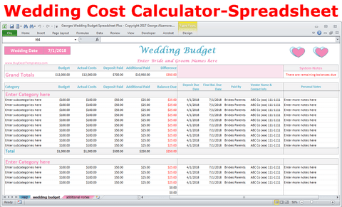 Wedding Costs Calculator Excel Budget Spreadsheet