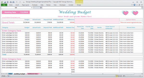 Wedding Expenses Calculator Excel Budget Worksheet