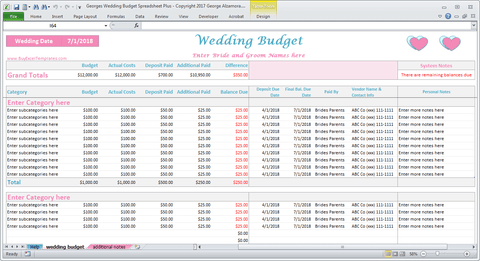 Georges Wedding Budget Spreadsheet Plus v2.0