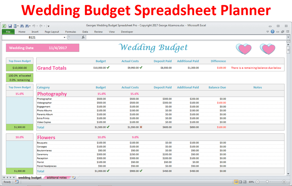 Georges Wedding Budget Spreadsheet Pro V2 0
