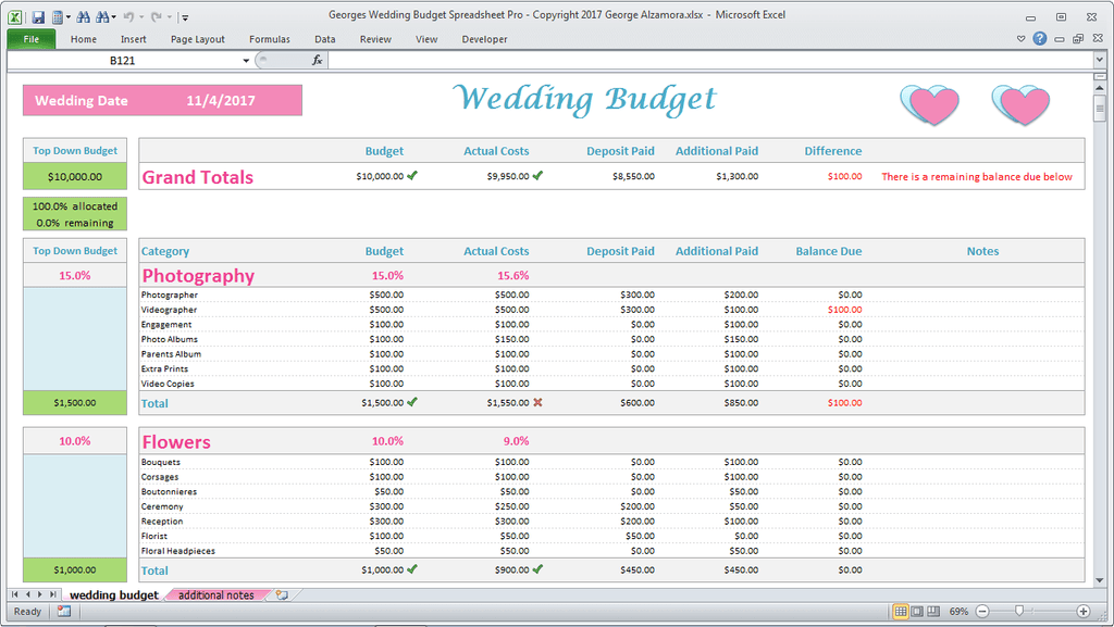 Details About Wedding Budget Spreadsheet Wedding Budget In Excel Wedding Budget Planner