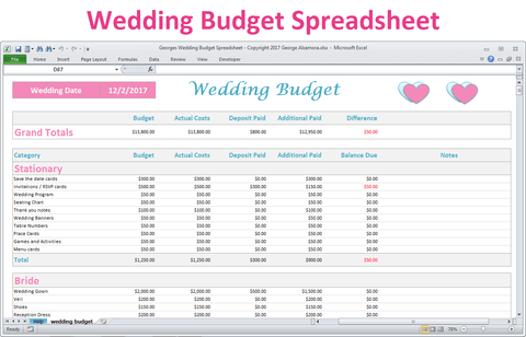 Excel wedding budget planner spreadsheet