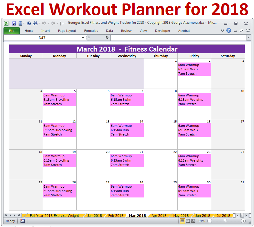 Excel Fitness - Weight Loss Tracker Template for Year 2018 ...