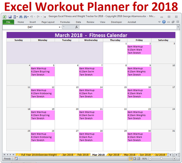 Weekly exercise plan excel spreadsheet