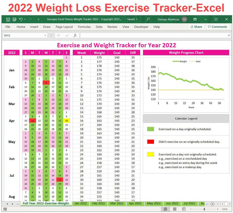 Weight Loss Calendar 2022.Excel Fitness Weight Loss Tracker Template For Year 2018 Printable Buyexceltemplates Com