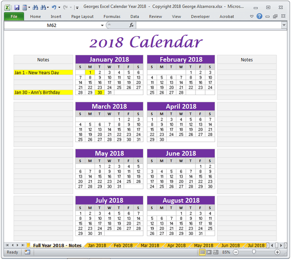Year 2018 Excel Calendar With Notes Printable