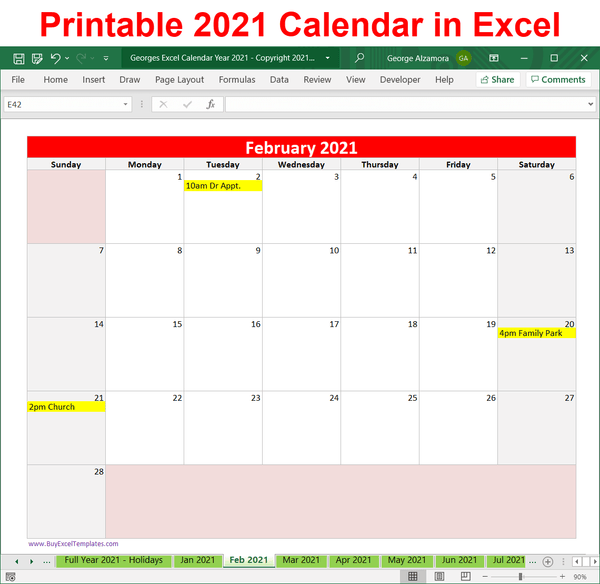 year 2021 calendar downloadable