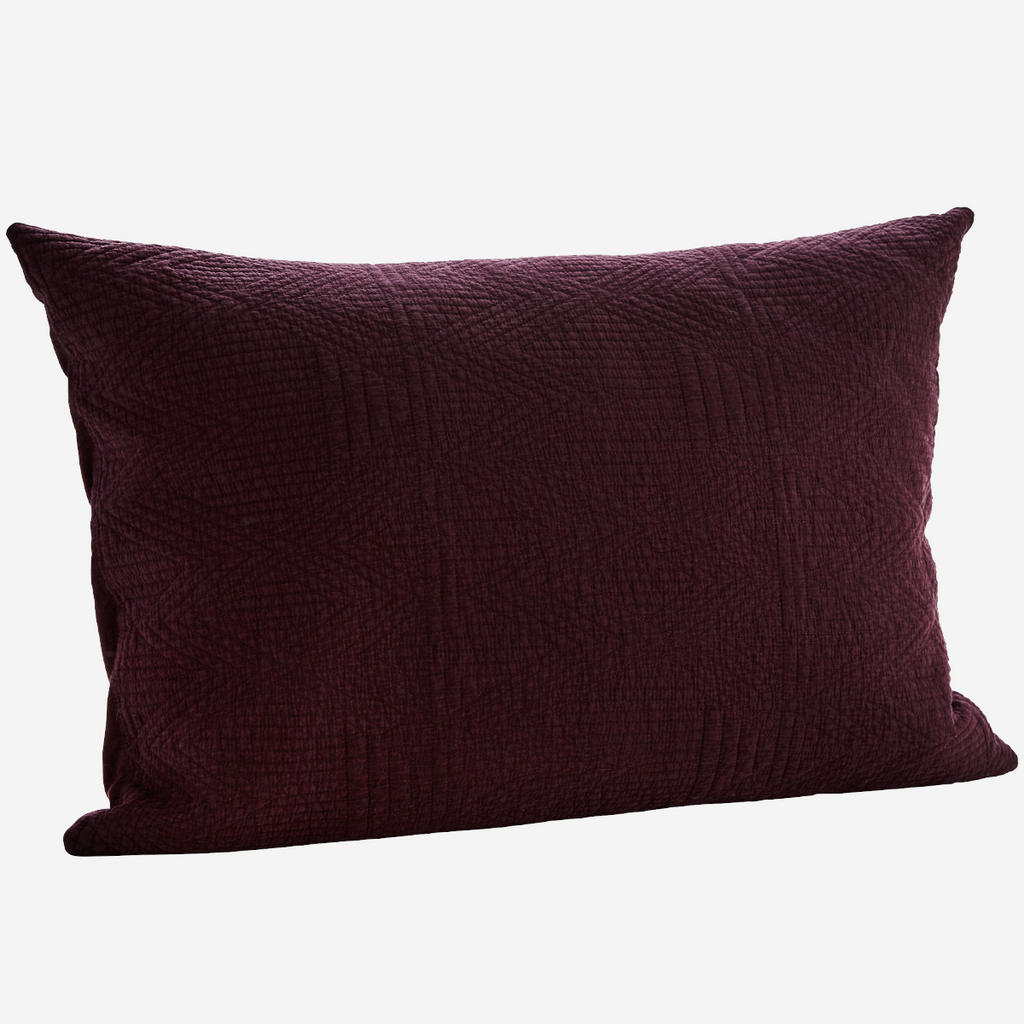 Quilted Cushion in Aubergine