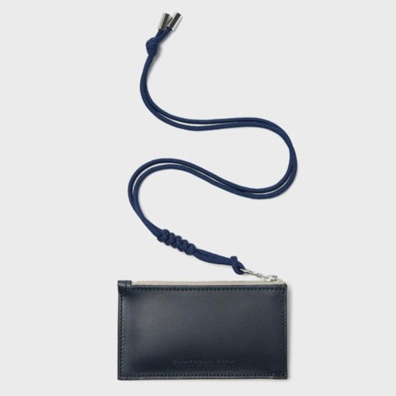 Campbell Cole Simple Coin Pouch with Lanyard Navy