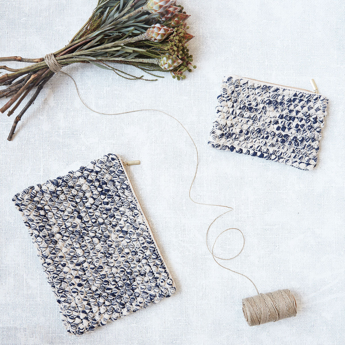 Ivory & Blue Cotton Pouch - Assorted
