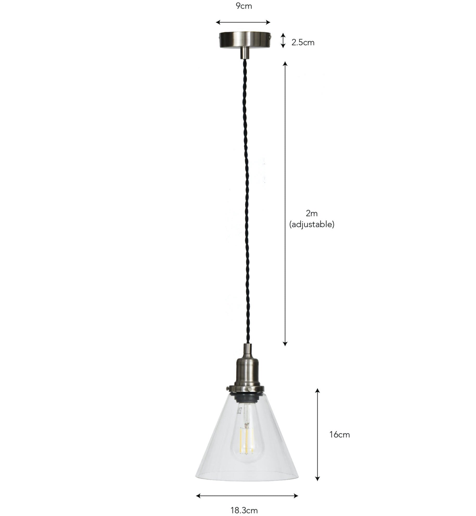Hoxton Cone Pendant Light - Satin Nickel