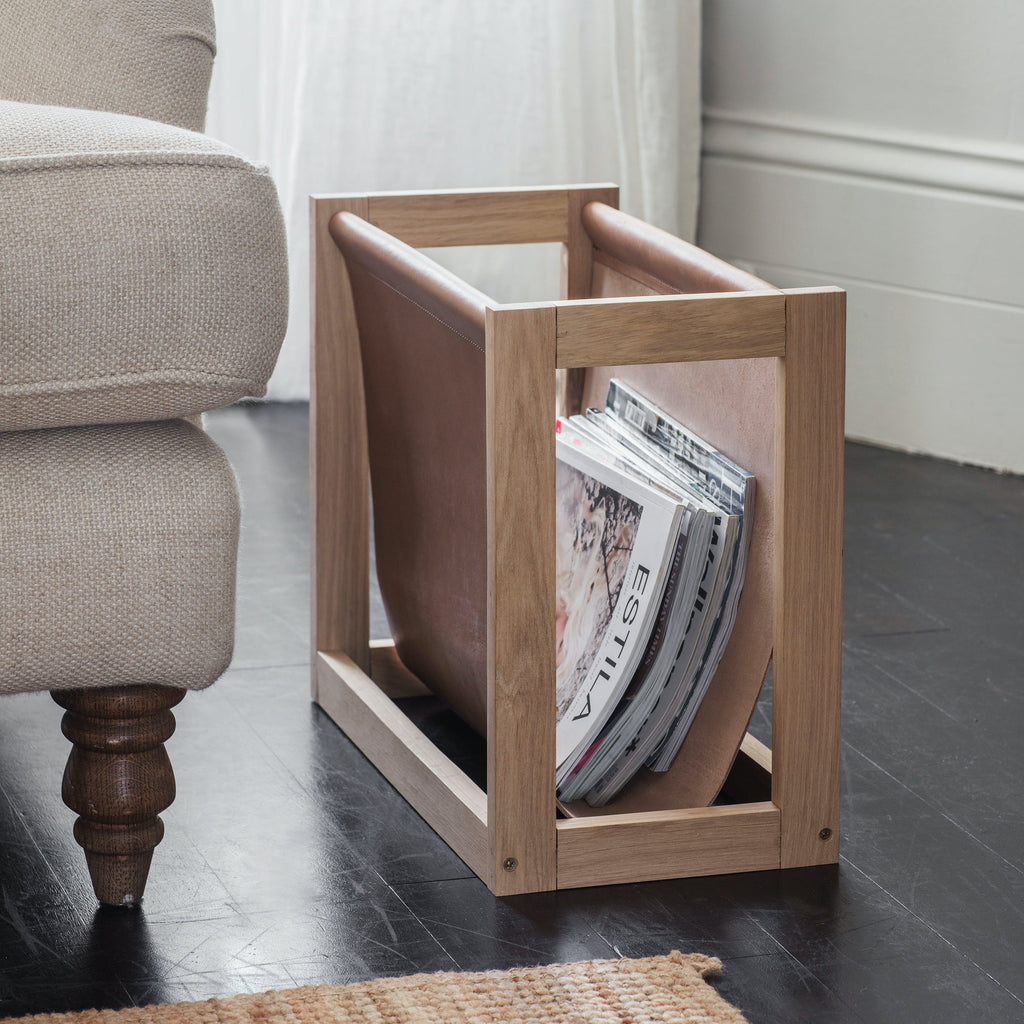 Morgan Magazine Holder Oak/Leather