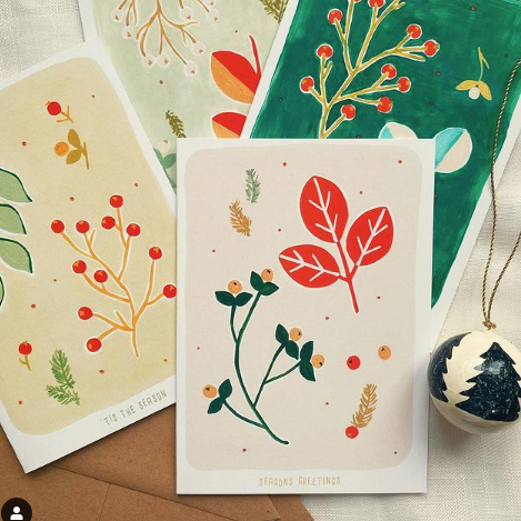 Card Pack Of 12 Botanical Christmas